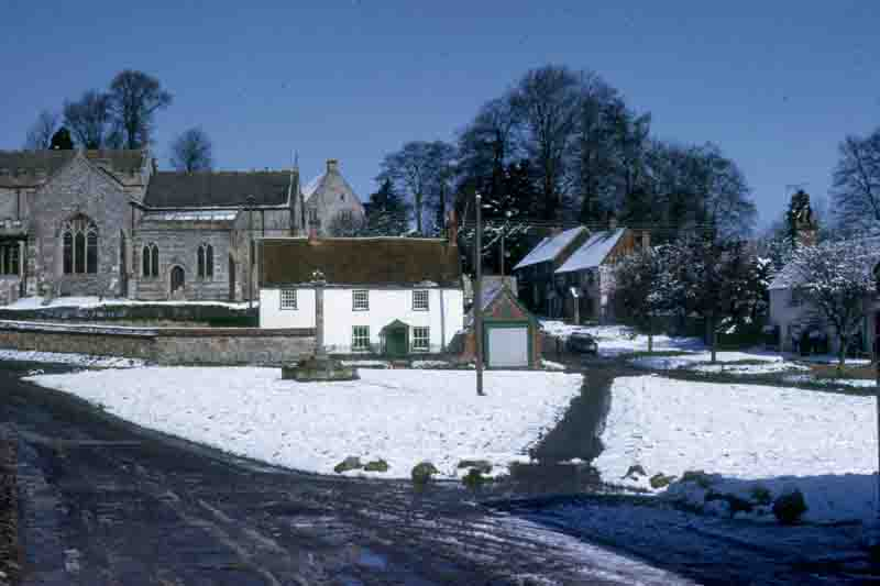 1975, Apr, Snow at Easter, The Green, 3866, Aldbourne Village