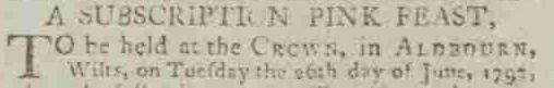 Pinks Feast Aldbourne 1792