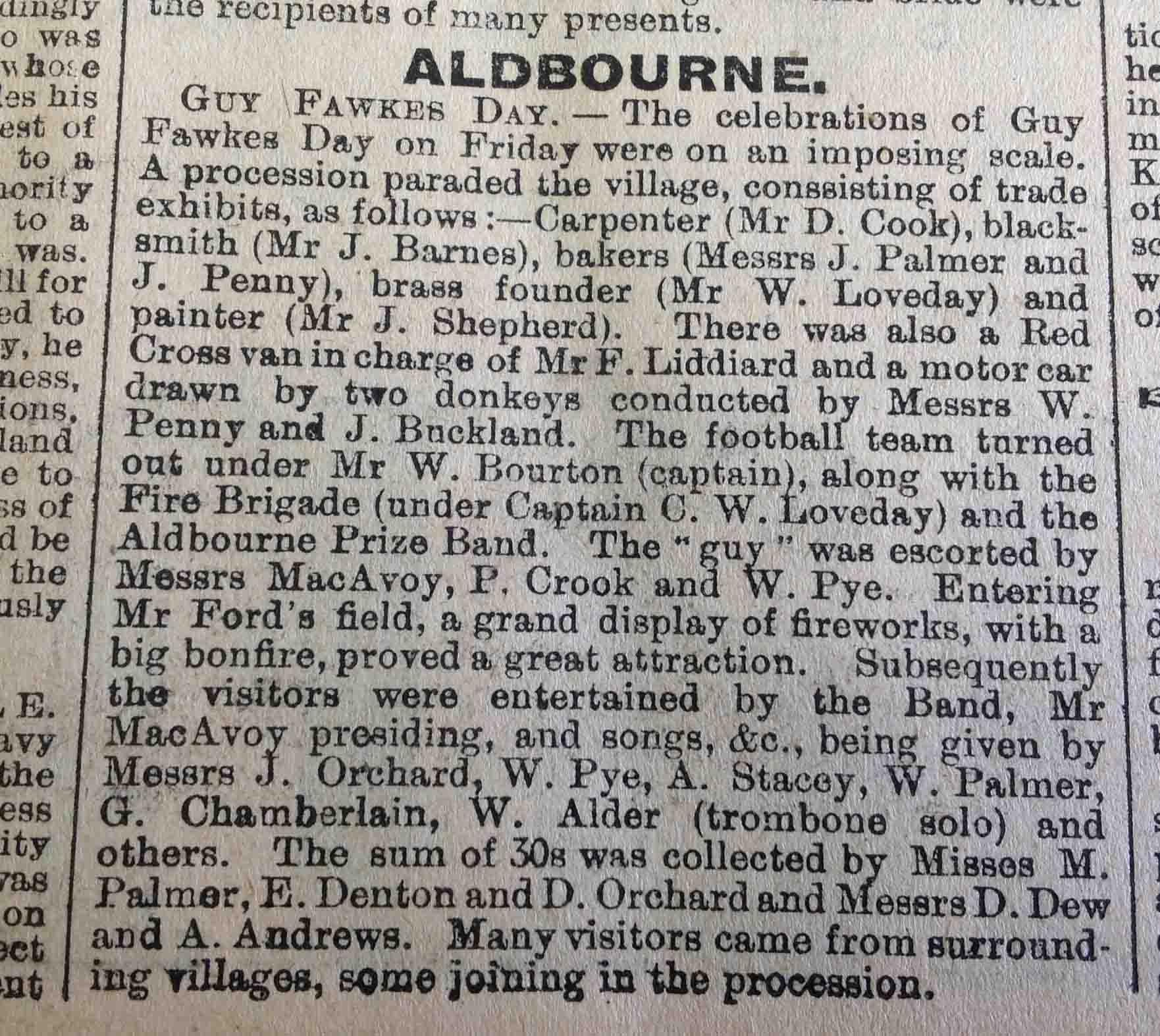 eNorth Wilts Herald Friday 12th November 1909 Aldbourne Bonfire