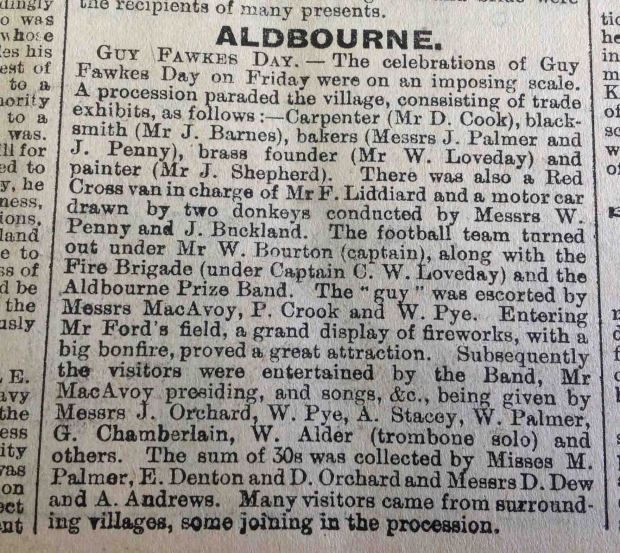 eNorth Wilts Herald Friday 12th November 1909 Aldbourne Bonfire