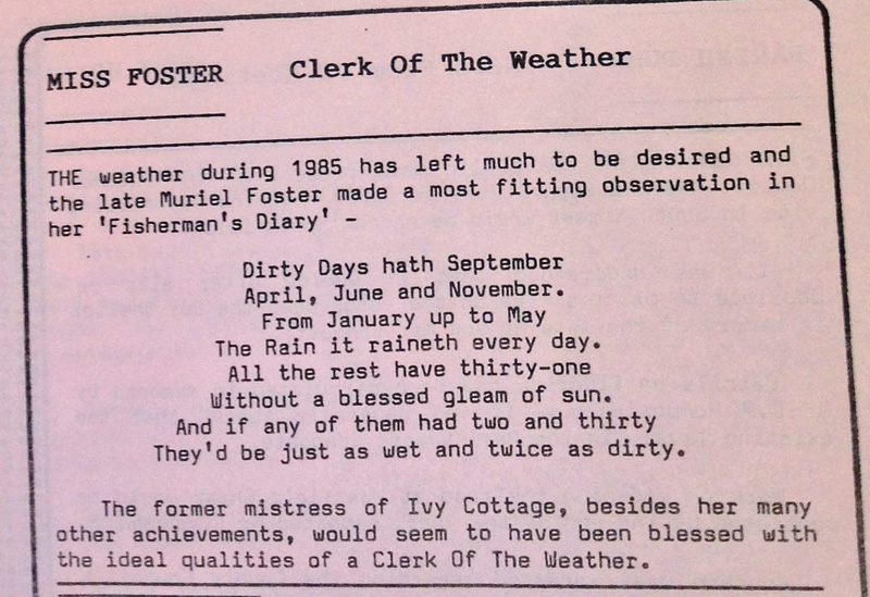 parish news aldbourne december 1985 muriel foster weather