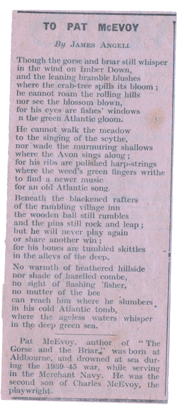 Newspaper Cutting of Poem To Pat McEvoy by James Angell