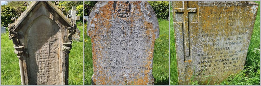 Three gravestones in St Michael's Churchyard, in the village of Aldbourne.  Family names are Brind and Wakefield