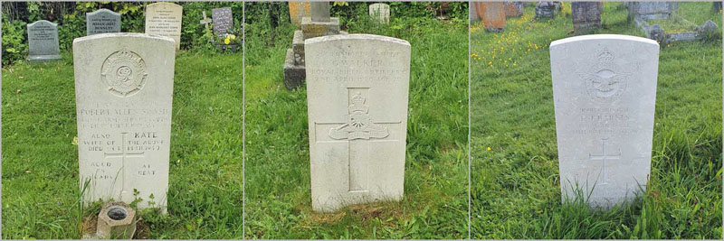 The three Commonwealth War Graves in St Michael's churchyard in the village of Aldbourne, Wiltshire